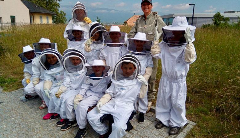 Première visite au rucher, nous recevons les enfants du collègue Émile-Gourd et Claparède.